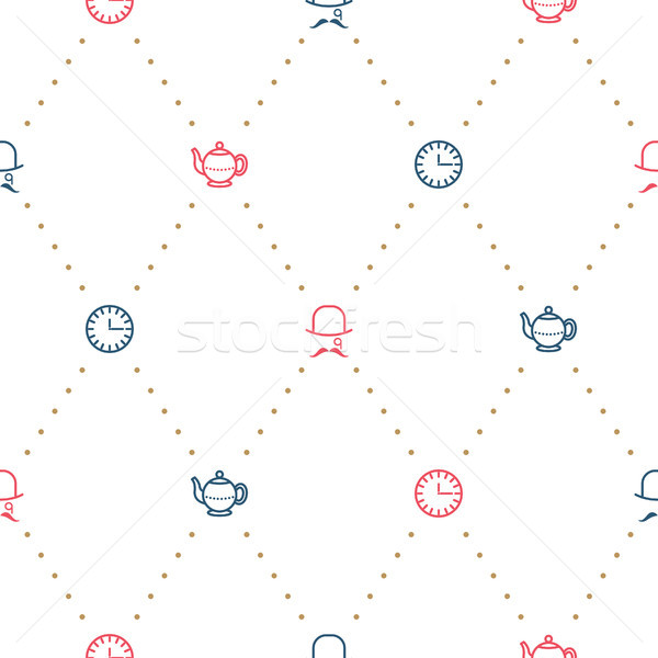 English tea party elegant red and blue on white line vector pattern. Stock photo © yopixart