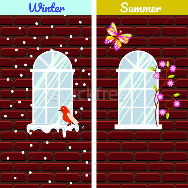 Ablakok piros téglafal épület tél nyár Stock fotó © yopixart