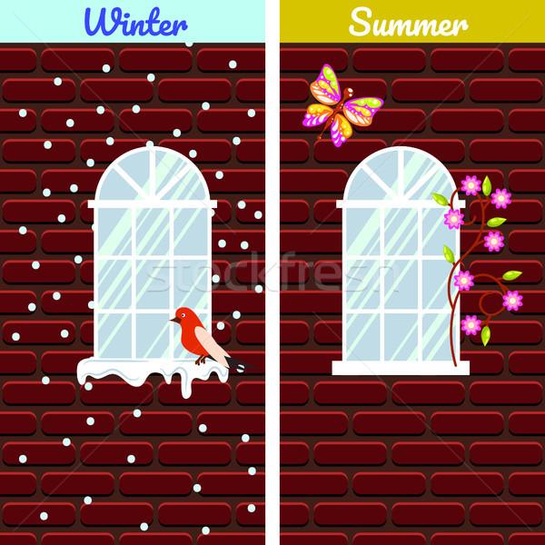 Windows on red brick wall building winter and summer comparison. Stock photo © yopixart