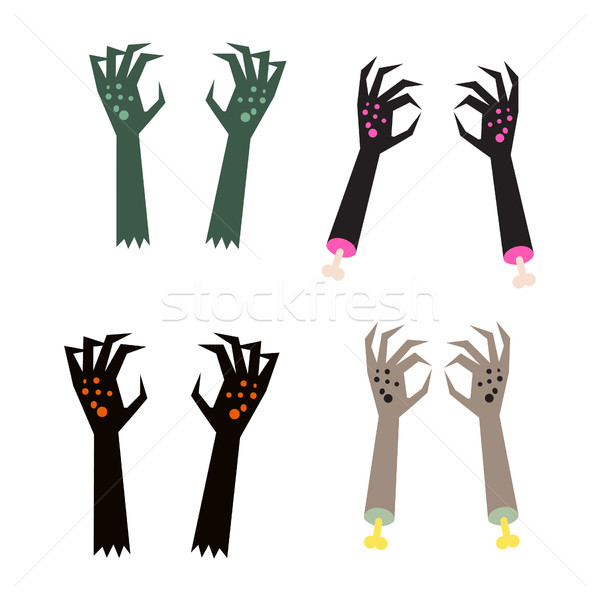 Creepy zombie corpse hands vector set. Stock photo © yopixart