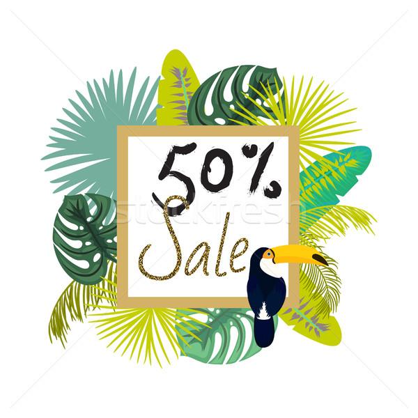 Frame banner for summer sale advertisement. Palm leaves flyer. Stock photo © yopixart