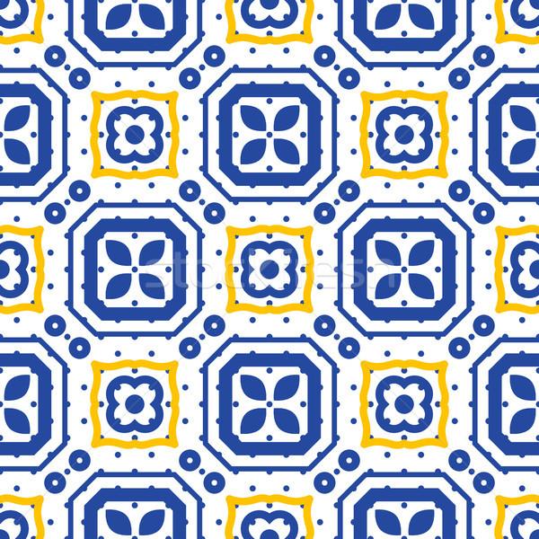 Azul branco mediterrânico sem costura cerâmico telha Foto stock © yopixart