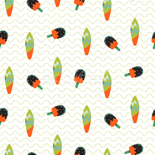 Surfboard and ice cream seamless vector wavy pattern. Stock photo © yopixart