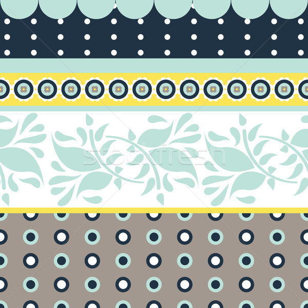 Folk floral gray and blue seamless vector pattern. Stock photo © yopixart