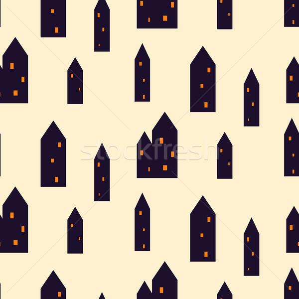 Spooky houses seamless vector pattern. Stock photo © yopixart