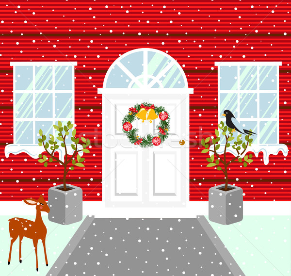 Christmas house outdoor decorations. Snowy weather vector illustration. Stock photo © yopixart