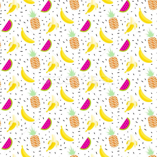 夏のフルーツ サラダ パターン バナナ シームレス ベクトル ストックフォト © yopixart