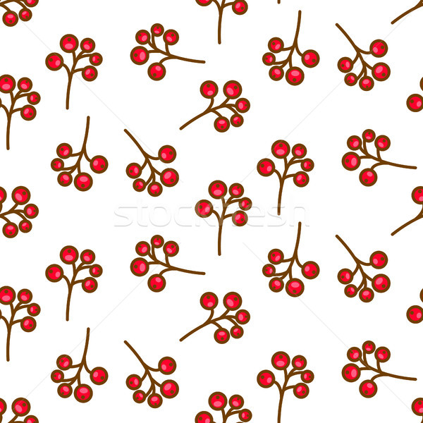 Red currant berry seamless pattern on white. Stock photo © yopixart