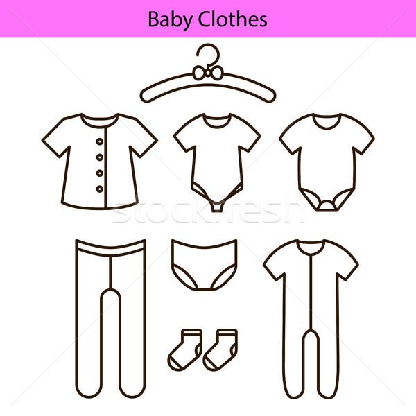 Baby clothes vector line icons. Stock photo © yopixart