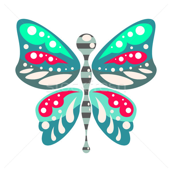Green and blue cartoon butterfly isolated vector illustration. Stock photo © yopixart