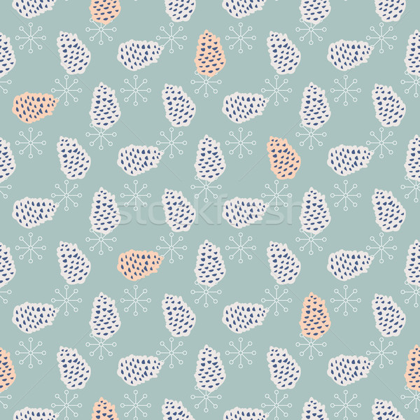 Pinecone seamless vector pattern. Stock photo © yopixart