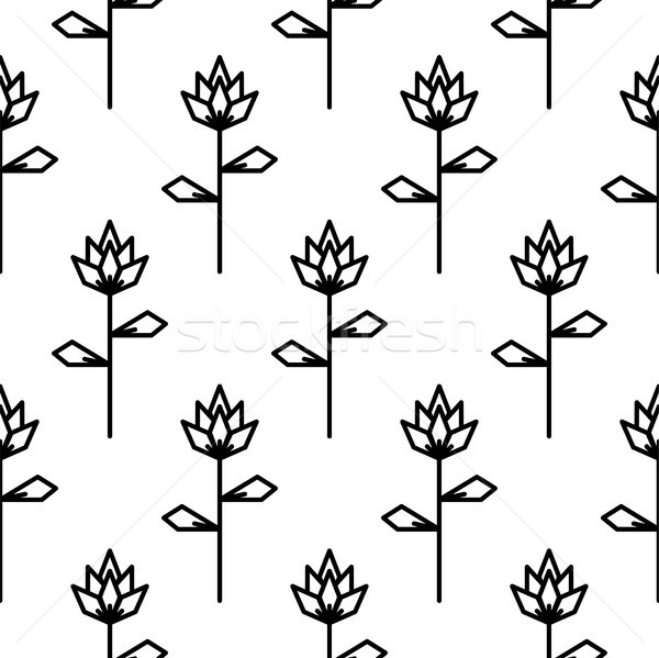 Stylized line flower seamless pattern. Stock photo © yopixart