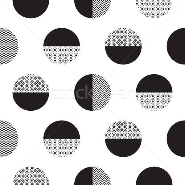 Mértani feketefehér pontozott körök minimalista minta Stock fotó © yopixart