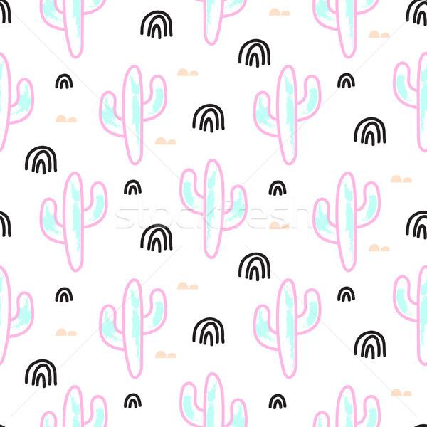 Kaktusz növény neon vektor végtelen minta absztrakt Stock fotó © yopixart