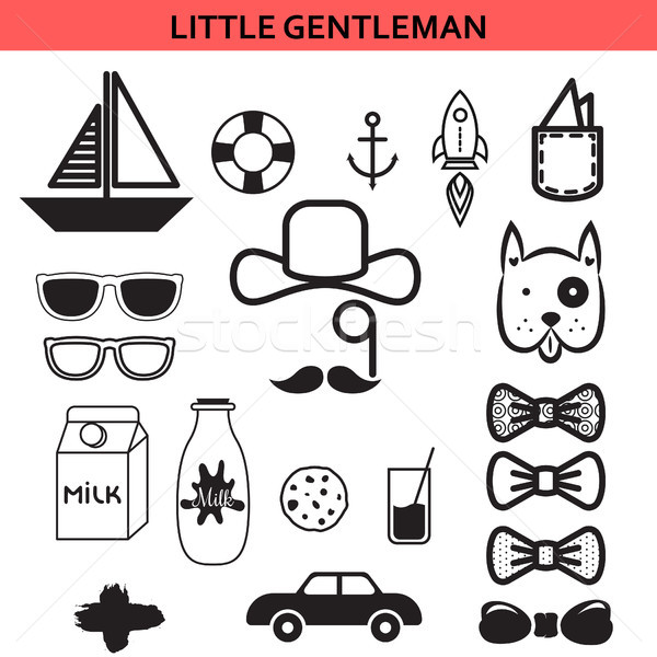Little gentleman outline vector icons. Stock photo © yopixart