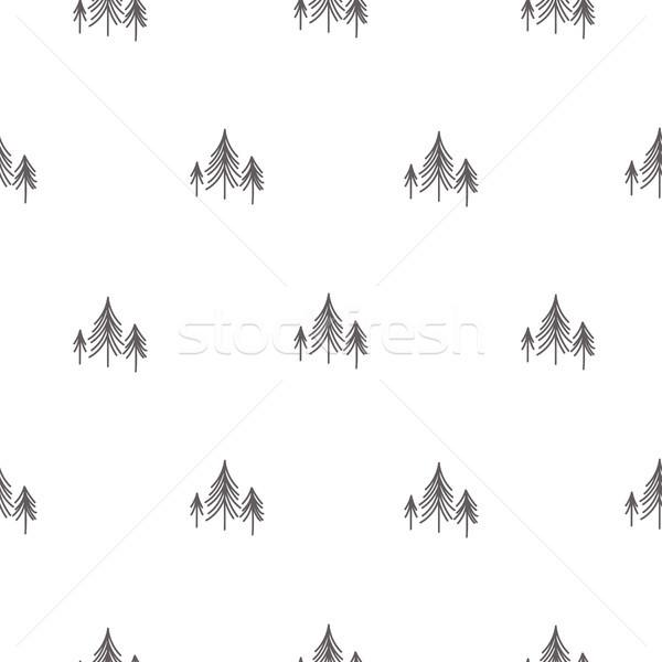 Scandinavian simple forest tree on white vector seamless pattern. Stock photo © yopixart