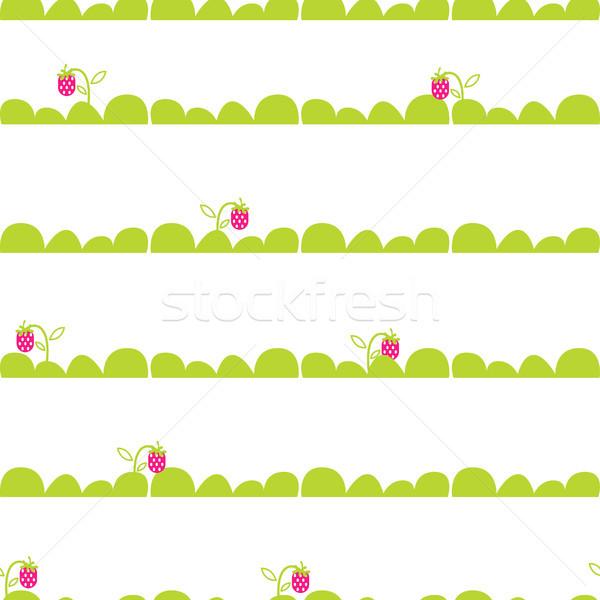 イチゴ 庭園 ベッド シームレス ベクトル パターン ストックフォト © yopixart