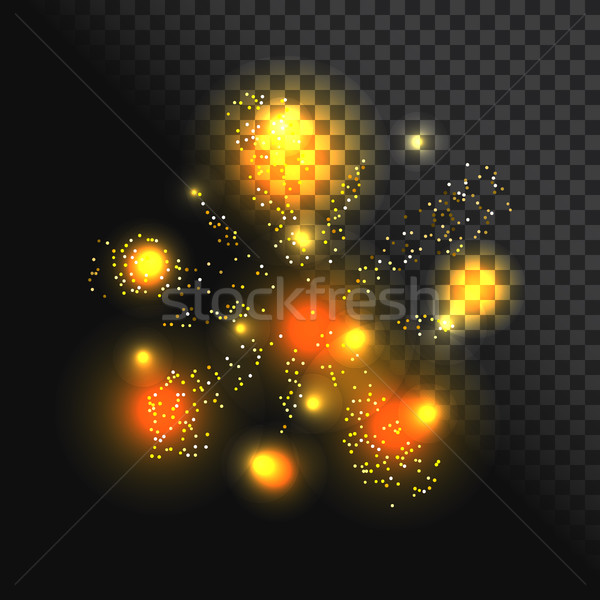 Stockfoto: Feestelijk · vuurwerk · vector · goud · licht