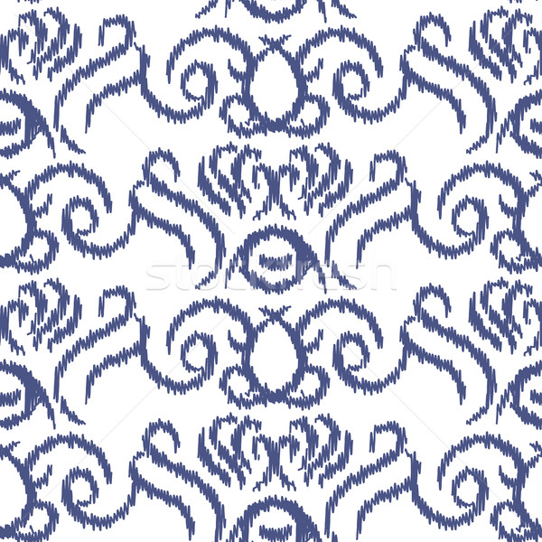 Stock photo: Ikat ogee vector seamless pattern.