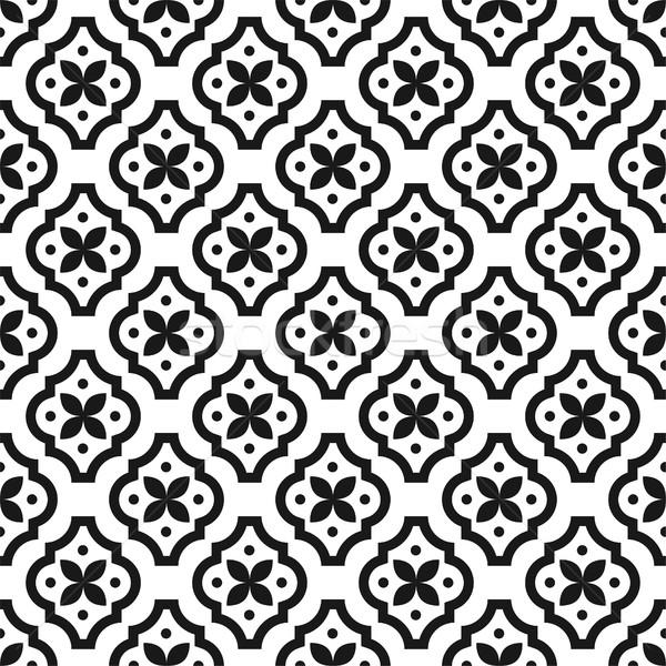 Black and white classic seamless vector pattern. Stock photo © yopixart