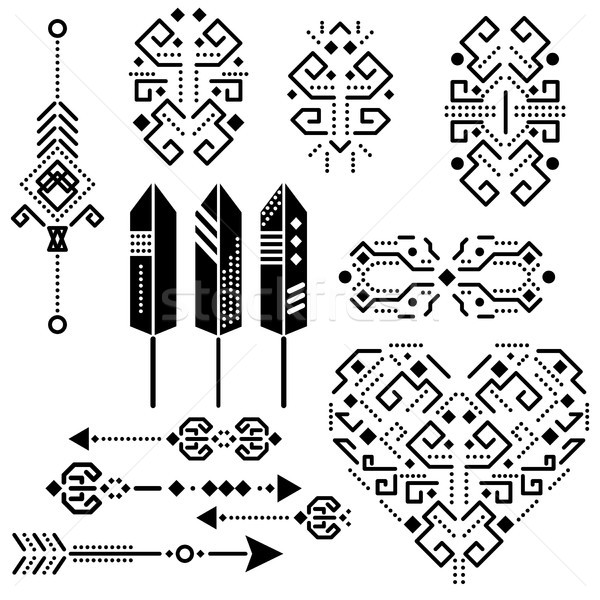 Tribal aztec vector stencil elements. Stock photo © yopixart