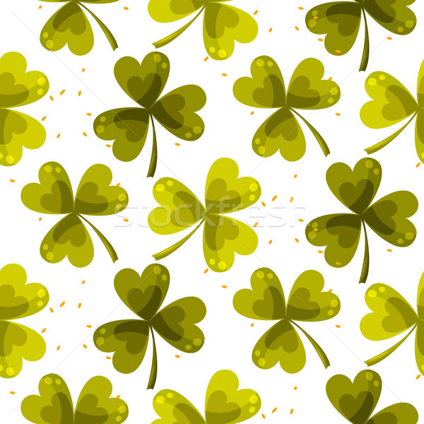 Stock photo: Clover trefoil leaf seamless vector pattern.