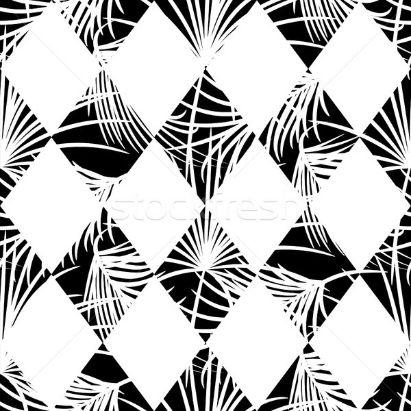 Harlequin rhombs and palm leaves seamless vector pattern. Stock photo © yopixart