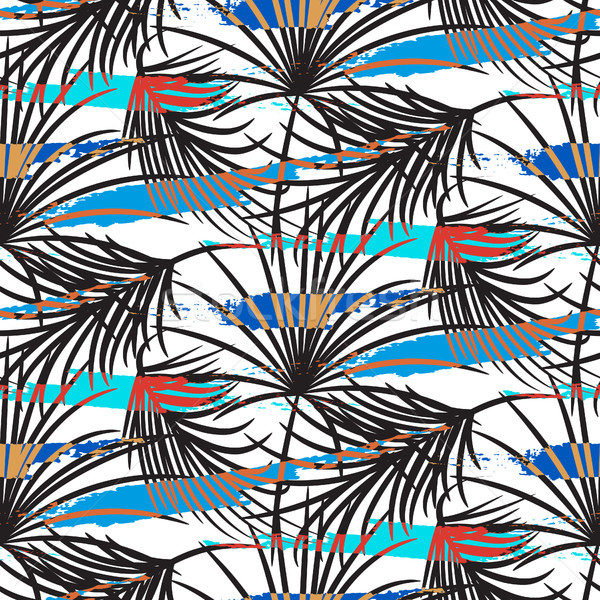 Stock photo: Gray palm leaves with blue strokes seamless vector pattern.