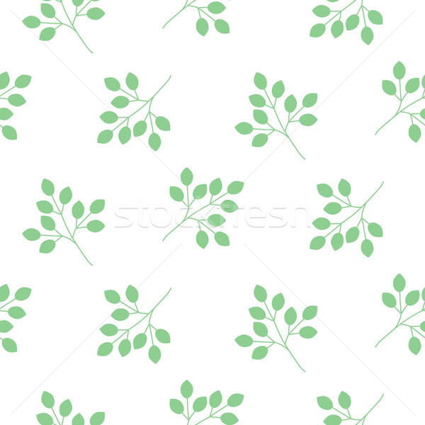 Stock photo: Small leaves seamless vector pattern.