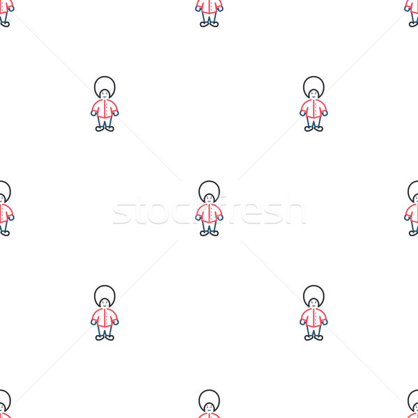 Stock photo: Queen guard soldiers cute seamless vector pattern.