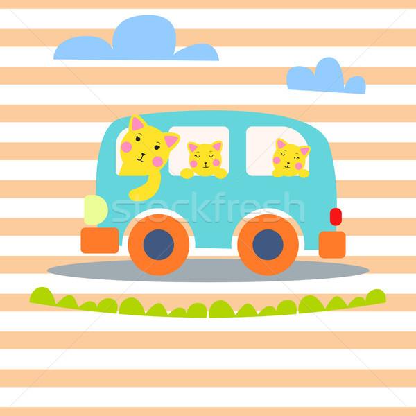 кошки семьи ван Kid одежда Сток-фото © yopixart