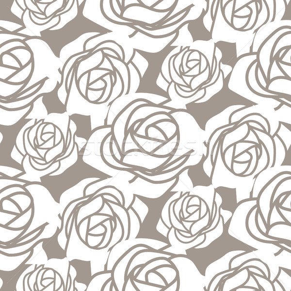 White bold roses stencil vector seamless pattern. Stock photo © yopixart