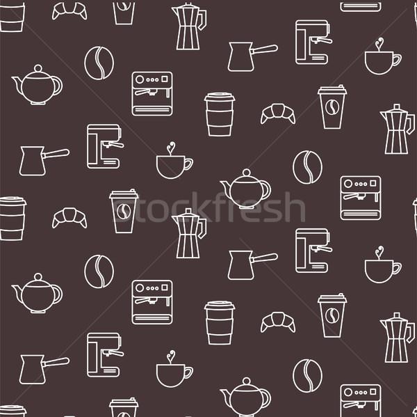 Café linha ícones sem costura padrão vector chocolate Foto stock © yopixart