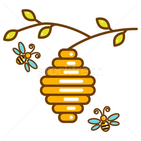 Bonitinho abelhas linha isolado ícone enforcamento Foto stock © yopixart