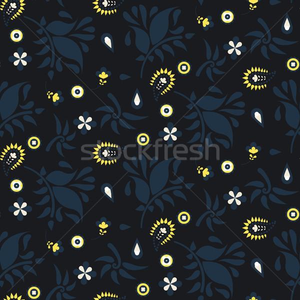 Floreale buio blu vettore pattern Foto d'archivio © yopixart