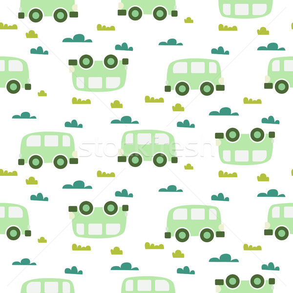 Car cute baby vector green scandinavian seamless pattern. Stock photo © yopixart