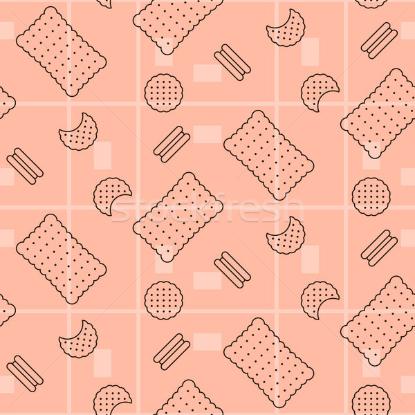 печенье розовый бесшовный вектора шаблон линия Сток-фото © yopixart