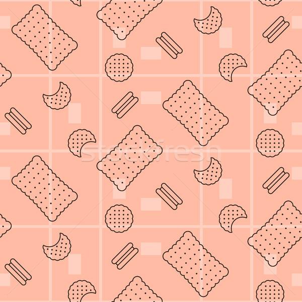 Biscuit pink seamless vector pattern. Stock photo © yopixart