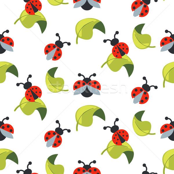 Cute Cartoon Ladybug зеленые листья бесшовный вектора Сток-фото © yopixart