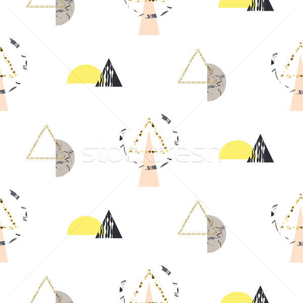 Marble memphis retro 80s seamless vector pattern. Stock photo © yopixart