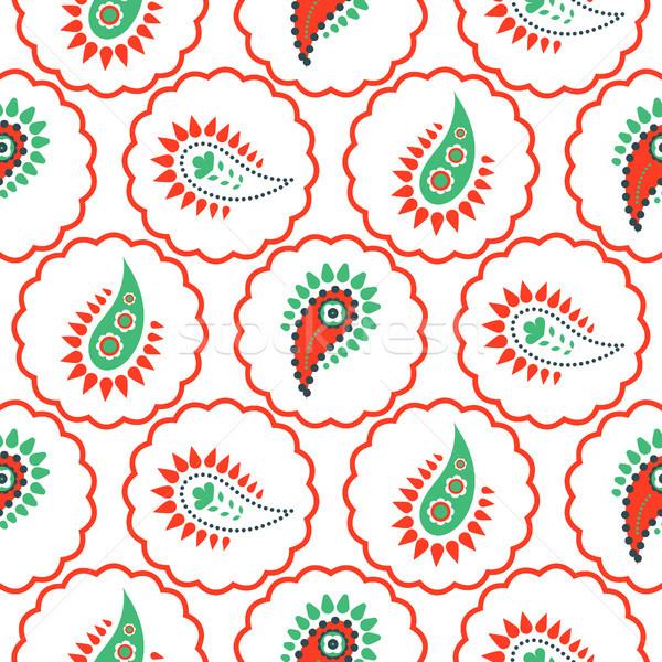 Patroon naadloos vector groene Rood cirkels Stockfoto © yopixart