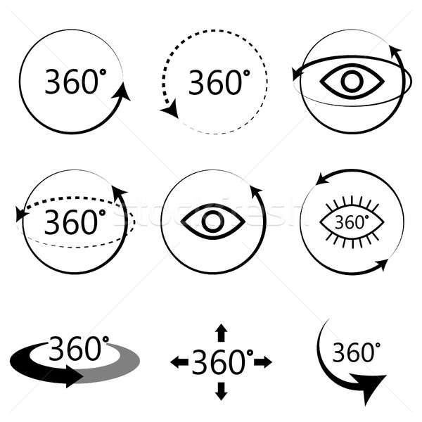 Full 360 degrees angle view icons. Stock photo © yopixart
