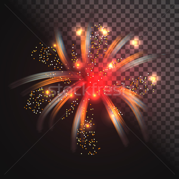 Festive red firework vector with glowing sparkles. Stock photo © yopixart