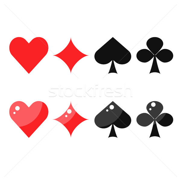 Playing card suits: spades, hearts, diamonds and clubs. Stock photo © yopixart