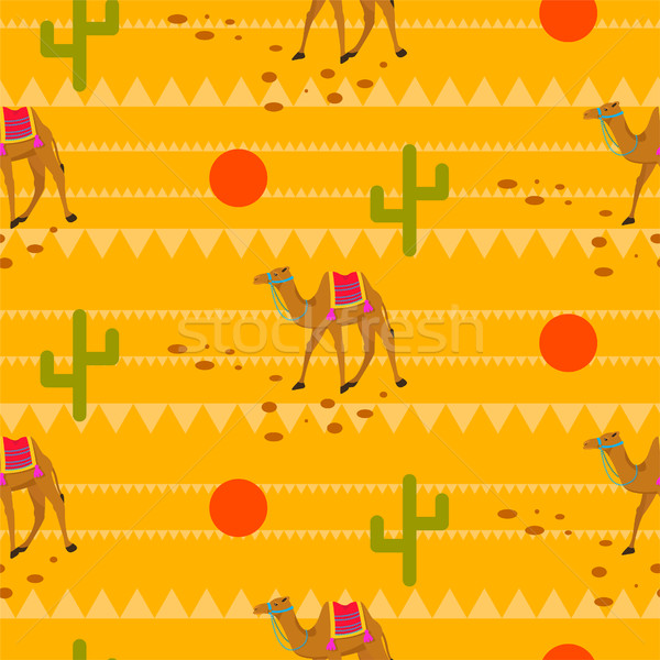 Desert camels in sands seamless pattern. Stock photo © yopixart