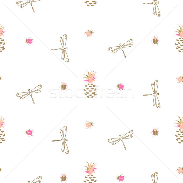 Gold outline dragonfly and pineapple seamless pattern. Stock photo © yopixart