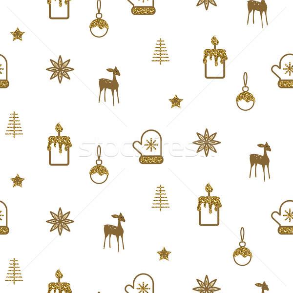 Goud witte nieuwjaar eenvoudige icon vector Stockfoto © yopixart