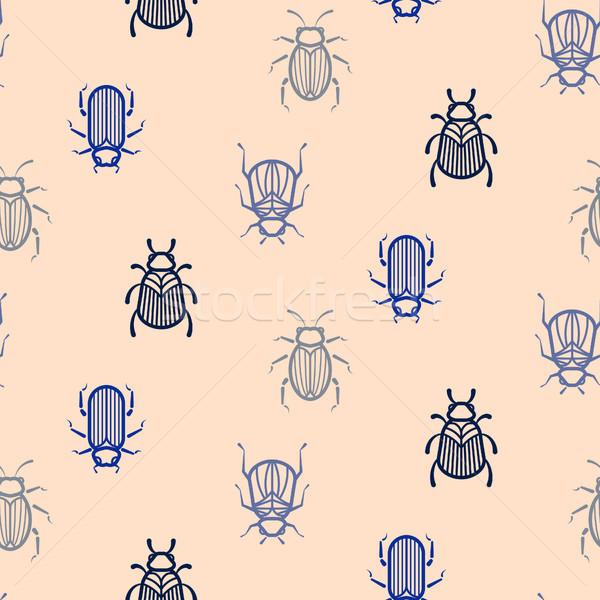 Blue line style beetle vector seamless pattern for print. Stock photo © yopixart
