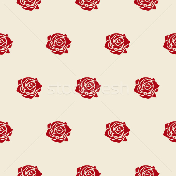 Red roses on beige fine vector seamless pattern. Stock photo © yopixart