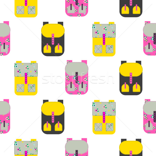 Backpack seamless vector pattern. Stock photo © yopixart
